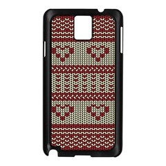 Stitched Seamless Pattern With Silhouette Of Heart Samsung Galaxy Note 3 N9005 Case (Black)