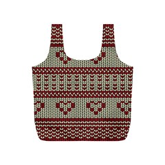 Stitched Seamless Pattern With Silhouette Of Heart Full Print Recycle Bags (s)