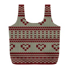 Stitched Seamless Pattern With Silhouette Of Heart Full Print Recycle Bags (l)