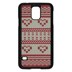 Stitched Seamless Pattern With Silhouette Of Heart Samsung Galaxy S5 Case (Black)