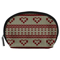 Stitched Seamless Pattern With Silhouette Of Heart Accessory Pouches (large)