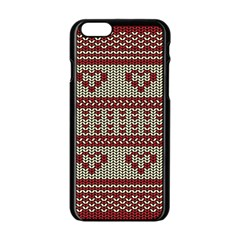Stitched Seamless Pattern With Silhouette Of Heart Apple Iphone 6/6s Black Enamel Case