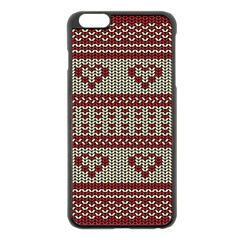 Stitched Seamless Pattern With Silhouette Of Heart Apple Iphone 6 Plus/6s Plus Black Enamel Case