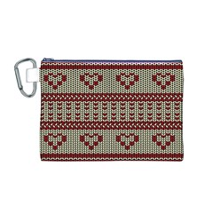 Stitched Seamless Pattern With Silhouette Of Heart Canvas Cosmetic Bag (m)