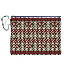 Stitched Seamless Pattern With Silhouette Of Heart Canvas Cosmetic Bag (xl)