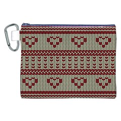 Stitched Seamless Pattern With Silhouette Of Heart Canvas Cosmetic Bag (XXL)