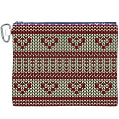 Stitched Seamless Pattern With Silhouette Of Heart Canvas Cosmetic Bag (xxxl)