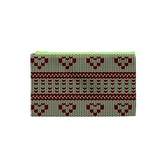 Stitched Seamless Pattern With Silhouette Of Heart Cosmetic Bag (XS)
