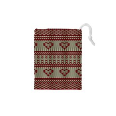 Stitched Seamless Pattern With Silhouette Of Heart Drawstring Pouches (xs)