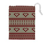 Stitched Seamless Pattern With Silhouette Of Heart Drawstring Pouches (Extra Large) Front