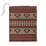 Stitched Seamless Pattern With Silhouette Of Heart Drawstring Pouches (Extra Large) Back