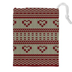 Stitched Seamless Pattern With Silhouette Of Heart Drawstring Pouches (XXL)
