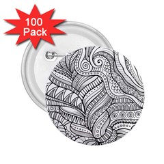 Zentangle Art Patterns 2 25  Buttons (100 Pack)