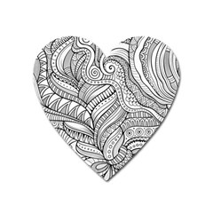 Zentangle Art Patterns Heart Magnet