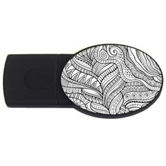 Zentangle Art Patterns USB Flash Drive Oval (2 GB)