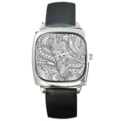 Zentangle Art Patterns Square Metal Watch