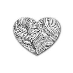 Zentangle Art Patterns Rubber Coaster (Heart)
