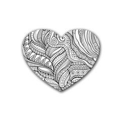Zentangle Art Patterns Heart Coaster (4 Pack)