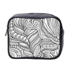 Zentangle Art Patterns Mini Toiletries Bag 2 Side