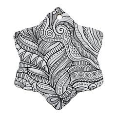 Zentangle Art Patterns Snowflake Ornament (Two Sides)