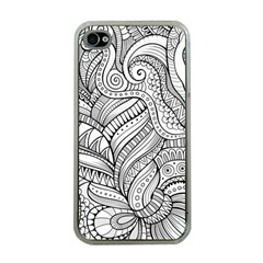 Zentangle Art Patterns Apple Iphone 4 Case (clear)