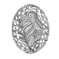 Zentangle Art Patterns Oval Filigree Ornament (two Sides)