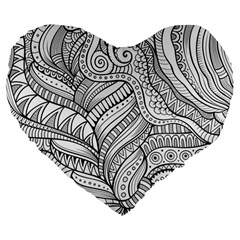 Zentangle Art Patterns Large 19  Premium Heart Shape Cushions