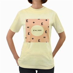Added Less Equal With Pink White Women s Yellow T-Shirt