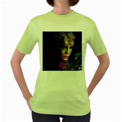 Digital Fantasy Girl Art Women s Green T Shirt