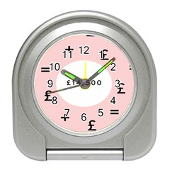 Added Less Equal With Pink White Travel Alarm Clocks