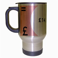 Added Less Equal With Pink White Travel Mug (Silver Gray)