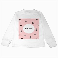 Added Less Equal With Pink White Kids Long Sleeve T-Shirts