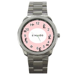 Added Less Equal With Pink White Sport Metal Watch