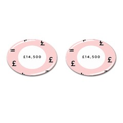 Added Less Equal With Pink White Cufflinks (Oval)