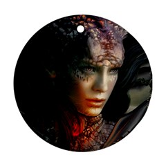 Digital Fantasy Girl Art Round Ornament (Two Sides)