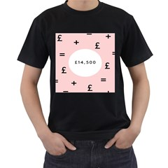 Added Less Equal With Pink White Men s T-Shirt (Black)