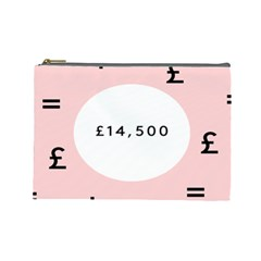 Added Less Equal With Pink White Cosmetic Bag (Large)
