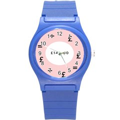 Added Less Equal With Pink White Round Plastic Sport Watch (S)