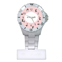 Added Less Equal With Pink White Plastic Nurses Watch