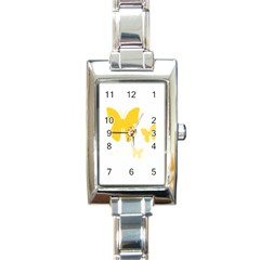 Yellow Butterfly Animals Fly Rectangle Italian Charm Watch