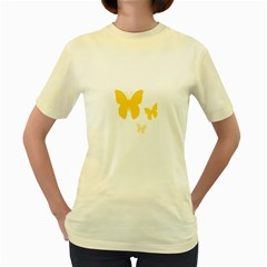 Yellow Butterfly Animals Fly Women s Yellow T Shirt