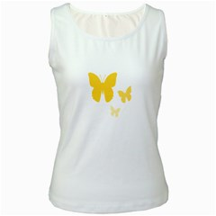 Yellow Butterfly Animals Fly Women s White Tank Top