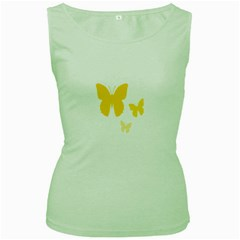 Yellow Butterfly Animals Fly Women s Green Tank Top