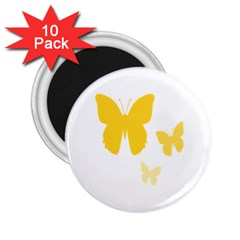 Yellow Butterfly Animals Fly 2.25  Magnets (10 pack)