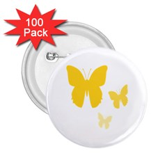 Yellow Butterfly Animals Fly 2 25  Buttons (100 Pack)