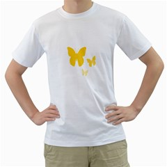Yellow Butterfly Animals Fly Men s T-Shirt (White) (Two Sided)