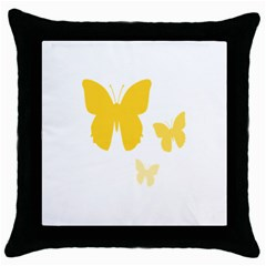 Yellow Butterfly Animals Fly Throw Pillow Case (Black)