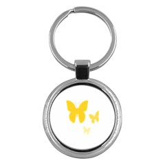 Yellow Butterfly Animals Fly Key Chains (Round)