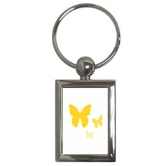 Yellow Butterfly Animals Fly Key Chains (Rectangle)
