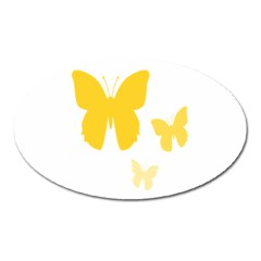 Yellow Butterfly Animals Fly Oval Magnet